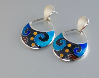 Cloisonne enamel, silver earrings