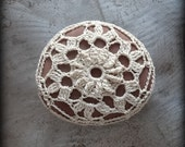 Crochet Lace Stone, Lace, Original, Table Decoration, Home Decor, Nature, Handmade, Ecru, Monicaj