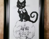 Witch, lady, one eye, magic, black , cat , illustration, pen and ink, black and white, Dame Darcy