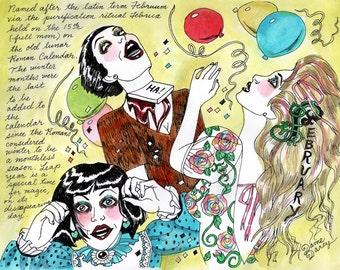 COLOR Dame Darcy, Meat Cake , original art, hand drawn, comix, comics, manga, print, zine, 2017 witchcraft calendar, page art, February