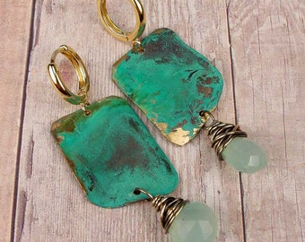 TROPICAL LEAF Earrings OOAK One Of A Kind, Geometric Patina Brass Earrings With Faceted Pastel Green Chalcedony Briolettes