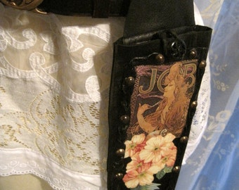 Magical Hippie Gypsy Alphonse Mucha JOB & Flowers Leather Hip Pouch Belt Purse Ooak