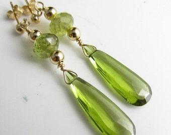 SALE Olive Drop Earrings - Olive Quartz and Peridot in 14k Gold Fill