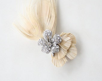 Feather Embellished, Swarovski, Crystal Hair Comb, Fascinator, Bridal Headpiece,