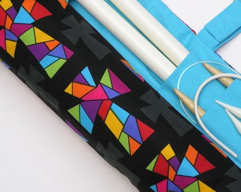 large knitting needle case - knitting needle organizer - colorful stain glass crosses- 36 pockets