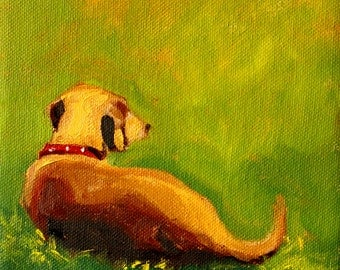 Dog Portrait, Puppy, Small 6x6 Oil Painting, Original