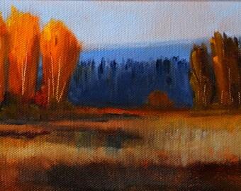 Landscape Oil Painting, Original 5x7 Canvas, Autumn Trees, Fall Prairie Field, Brown Orange, Blue, Rural Scene, Small Wall Decor