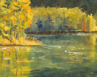 Landscape Oil Painting, Small Original, 6x8 Canvas, Lake River Scene, Yellow Green Trees, Water, Wall Decor, Summer Evening, Reflection