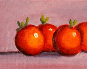 Tomato Still Life Painting, Little Red Fruit, Small 4x6 Original Oil Painting, Wall Decor Canvas, Kitchen Art, Lavender Orange, Tiny
