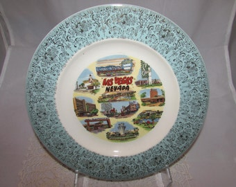Vintage Souvenir Collector State Plate of Las Vegas Casinos, Nevada, 60s, Sands, Stardust, Dunes, Sahara, Golden Nugget, Tropicana