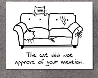 Funny Bon Voyage Card - Angry Cat Does not Approve of your Vacation - Large Single Note Card for Cat Lovers - Blank Inside