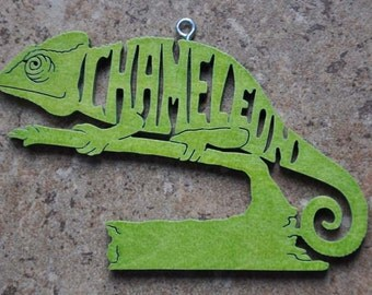 Chameleon Lizard Reptile  Ornament Hand Cut wooden Christmas Ornaments
