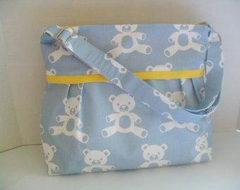 Diaper Bag - Blue Bear - Yellow - Adjustable Strap - Bear Diaper Bag - Messenger Bag - Bags and Purses -  Stroller Straps