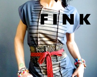 Moment of Glory - iheartfink Womens Handmade Top, Hand Printed Stripes, Wearable Art Top, Cotton Jersey Art Top