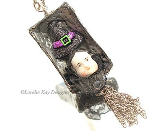 Tiny Witch Halloween Necklace Necklace Soldered Box China Doll Head Pendant Lorelie Kay Orignal