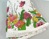 Vintage floral mid century round tablecloth with pom pom border
