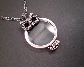 Magnifying Pendant Necklace, OWL Magnifier, Oxidized Silver Necklace, FREE Shipping U.S.