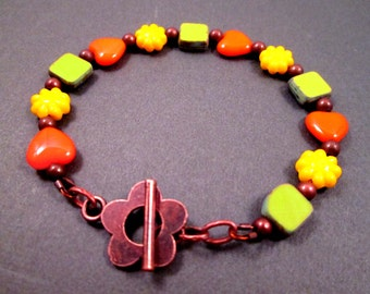 Colorful Beaded Bracelet, Green Picasso Glass, Yellow Flowers, Orange Hearts, Copper Beaded Bracelet, FREE Shipping U.S.