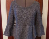 SALE Ladies Charcoal Gray Marled Ruffle Sleeve 40% Wool Sweater S/M