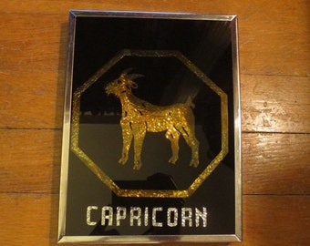 ON SALE Vintage Capricorn Zodiac Reverse Foil 3-D Shadow Box Wall Hanging 1976