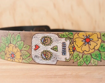 Leather Ukulele Strap - Handmade in the Walden pattern with Sugar Skull and Flowers - Kids Guitar Strap