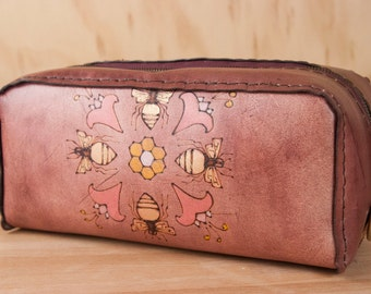 Dopp Bag - Handmade leather in the Meadow pattern with bees and flowers - Toiletry Bag in gold, pink and antique mahogany