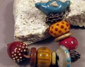 Handmade Lampwork Beads by Monaslampwork - Bird, Nest, Acorn set - Lampwork Glass Beads by Mona Boho Organic Fall Autumn Color Gypsy