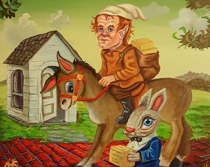 Fairy and Donkey - Original painting by Mr Hooper of Nashville Tennessee