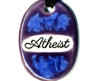 Atheist Ceramic Necklace in Purple and Blue