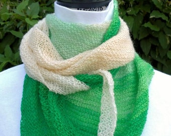Shawlette, scarf, wrap, shawl. Green Apples is handknit of 100% handspun wool, OOAK