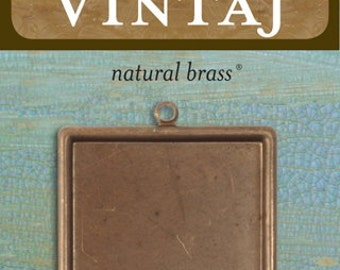 Vintaj Natural Brass Square Bezel  29.5mm, 1 Piece (P0002)