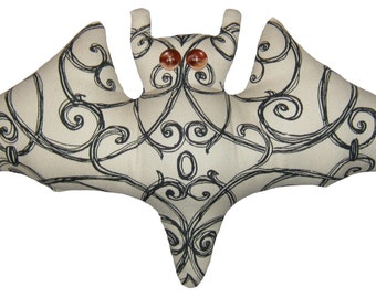 Ivory and Black Bat Pillow
