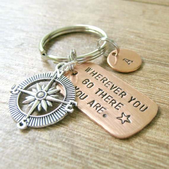 Wherever You Go There You Are Keychain with silver compass charm and split ring, women, men, optional initial disc, compass keychain