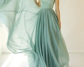 Sample SALE - long muted turquoise green silk chiffon dress