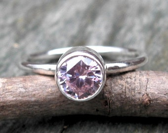 20% OFF TODAY - Pink Cubic Zirconia Ring ... 6mm pink gemstone ring sterling silver stacking ring
