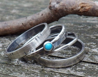 20% OFF TODAY - Sleeping Beauty Turquoise Sterling Silver Stacking Rings ... Your Size Multi Width Rings