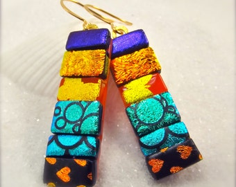 Statement trendy earrings, dichroic glass earrings, striped earrings, big and bold jewelry, dangle earrings, rainbow colors, mod earrings