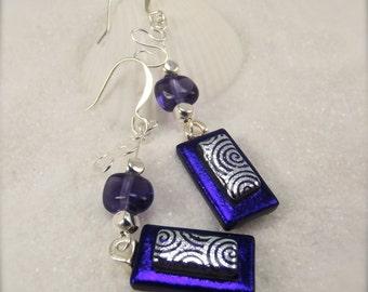 Purple dichroic glass earrings, Fused dichroic earrings, Hana Sakura Designs, handmade, modern jewelry, unusual jewelry, glass fusion