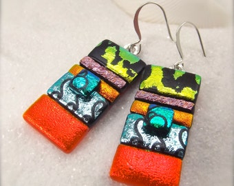 Dichroic earrings, freshly picked, trending now, artistic jewelry, tropical jewelry, handmade, fusion, statement earrings, mod and hip, ooak