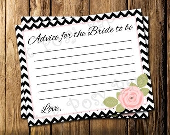 Printable Pink and Black Bridal Shower Advice Cards - Instant Download