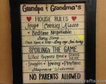 Grandparents house rules sign Hugs Cookies Bedtime spoiling no parents story hugs kisses quote framed or print only
