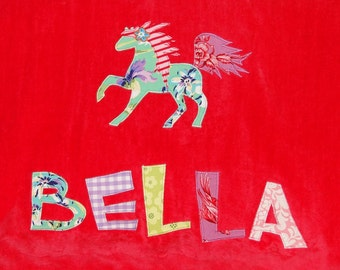 Personalized Large Salsa Red Velour Beach Towel with Horse,Pool Towel,Camp Towel,Kids Bath Towel,Horse Party, Bridal Party Towel, Farm Party