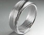"Men's Wedding Band Damascus Stainless Steel ""Koenig"" Ring"