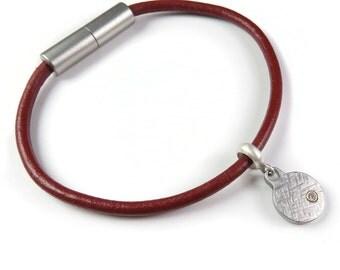 Offset Diamond Leather Magnetic Charm Bracelet