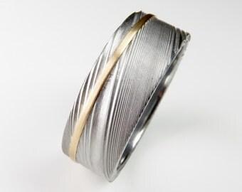 Men's Wedding Band Damascus Stainless Steel Gold Stripe Ring