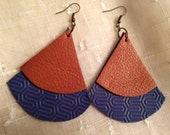 Leather Textured Fan Earrings Blue