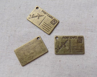 10 Antique Bronze tone Postcard Charms Pendants