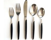 Reserved Scandinavian Style Flatware - Made in Japan - Set for 6 - Stainless Steel with Black Handles