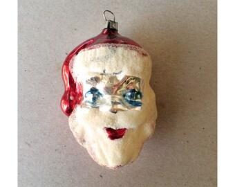 Mercury Glass Santa Ornament - Vintage Mercury Glass Ornament - West Germany