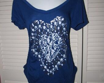 blue Lauren Moshi diamond chain heart backless shredded t shirt